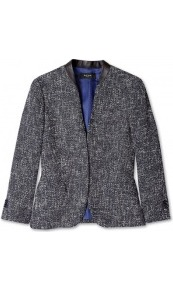 Tweed Edge To Edge Jacket With Leather Trim Paul Smith Bl - pattern: plain, herringbone/tweed; style: single breasted blazer; collar: standard lapel/rever collar; predominant colour: navy; occasions: casual, evening, work; length: standard; fit: tailored/fitted; fibres: cotton - mix; waist detail: fitted waist; sleeve length: 3/4 length; sleeve style: standard; collar break: low/open; pattern type: fabric; pattern size: standard; texture group: tweed - light/midweight