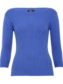 Women's Jumper Rib Body Con - neckline: round neck; pattern: plain; style: standard; predominant colour: indigo; occasions: casual, work; length: standard; fibres: cotton - stretch; fit: slim fit; sleeve length: 3/4 length; sleeve style: standard; texture group: knits/crochet; pattern type: knitted - fine stitch; pattern size: standard