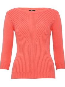 Women's Jumper Rib Body Con - neckline: slash/boat neckline; pattern: plain; style: standard; predominant colour: coral; occasions: casual, work; length: standard; fibres: cotton - stretch; fit: slim fit; sleeve length: 3/4 length; sleeve style: standard; texture group: knits/crochet; pattern type: knitted - fine stitch; pattern size: standard