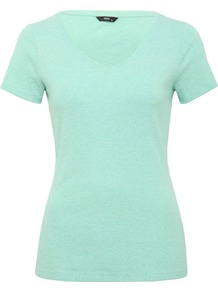 Women's Cotton V Neck T Shirt - neckline: v-neck; pattern: plain; style: t-shirt; predominant colour: mint green; occasions: casual, holiday; length: standard; fibres: cotton - 100%; fit: body skimming; sleeve length: short sleeve; sleeve style: standard; pattern type: fabric; pattern size: standard; texture group: jersey - stretchy/drapey