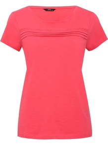 Women's Pleat Front Crew Neck Top - neckline: round neck; pattern: plain; style: t-shirt; bust detail: ruching/gathering/draping/layers/pintuck pleats at bust; predominant colour: hot pink; occasions: casual; length: standard; fibres: cotton - 100%; fit: body skimming; sleeve length: short sleeve; sleeve style: standard; pattern type: fabric; texture group: jersey - stretchy/drapey