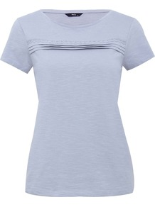Women&#x27;s Pleat Front Crew Neck Top - pattern: plain; style: t-shirt; predominant colour: lilac; occasions: casual; length: standard; fibres: cotton - 100%; fit: body skimming; neckline: crew; sleeve length: short sleeve; sleeve style: standard; texture group: jersey - stretchy/drapey