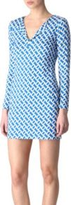 Reina Tunic Dress - neckline: low v-neck; length: below the bottom; secondary colour: white; predominant colour: diva blue; occasions: casual, evening, holiday; style: top; fibres: silk - 100%; fit: body skimming; sleeve length: long sleeve; sleeve style: standard; texture group: crepes; pattern type: fabric; pattern size: small & busy; pattern: patterned/print