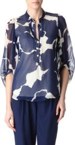 Syrah Top - sleeve style: balloon; style: blouse; bust detail: buttons at bust (in middle at breastbone)/zip detail at bust; secondary colour: ivory; predominant colour: navy; occasions: casual, evening, work; length: standard; neckline: collarstand; fibres: silk - 100%; fit: body skimming; sleeve length: 3/4 length; texture group: sheer fabrics/chiffon/organza etc.; pattern type: fabric; pattern size: big &amp; light; pattern: patterned/print