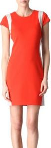 Pele Two Tone Dress - style: shift; length: mid thigh; neckline: round neck; sleeve style: capped; fit: tailored/fitted; pattern: plain, striped, patterned/print, colourblock; waist detail: fitted waist; hip detail: fitted at hip, contrast fabric/print detail at hip; shoulder detail: contrast pattern/fabric at shoulder; predominant colour: bright orange; occasions: casual, evening, work, occasion, holiday; fibres: polyester/polyamide - stretch; sleeve length: short sleeve; texture group: crepes; trends: sporty redux, glamorous day shifts; pattern type: fabric; pattern size: big & light