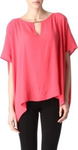 Beonica Tunic Top - sleeve style: dolman/batwing; pattern: plain; style: smock; predominant colour: coral; occasions: casual, evening, work, holiday; length: standard; neckline: peep hole neckline; fibres: polyester/polyamide - 100%; fit: loose; hip detail: dip hem; back detail: longer hem at back than at front; sleeve length: short sleeve; trends: volume; pattern type: fabric; texture group: jersey - stretchy/drapey
