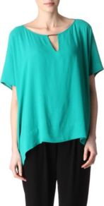 Beonica Tunic Top - sleeve style: dolman/batwing; pattern: plain; predominant colour: emerald green; occasions: casual, evening, holiday; length: standard; style: top; neckline: peep hole neckline; fibres: polyester/polyamide - 100%; fit: loose; back detail: longer hem at back than at front; sleeve length: short sleeve; texture group: crepes; trends: volume; pattern type: fabric