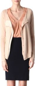 Ainthe Cardigan - neckline: round neck; bust detail: ruching/gathering/draping/layers/pintuck pleats at bust, buttons at bust (in middle at breastbone)/zip detail at bust; predominant colour: nude; occasions: casual, evening, work; length: standard; style: standard; fibres: silk - mix; fit: standard fit; sleeve length: long sleeve; sleeve style: standard; texture group: knits/crochet; trends: sculptural frills; pattern type: knitted - other