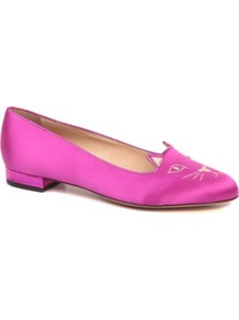 Kitty Satin Pumps - predominant colour: hot pink; occasions: casual, evening, work, holiday; material: satin; heel height: flat; embellishment: embroidered; toe: round toe; style: ballerinas / pumps; trends: fluorescent; finish: fluorescent; pattern: patterned/print, plain