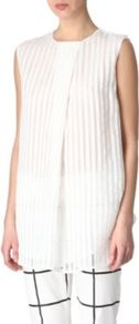 Malia Top - pattern: vertical stripes; sleeve style: sleeveless; length: below the bottom; bust detail: ruching/gathering/draping/layers/pintuck pleats at bust; predominant colour: white; occasions: casual, evening, holiday; style: top; fit: loose; neckline: crew; back detail: keyhole/peephole detail at back; sleeve length: sleeveless; texture group: sheer fabrics/chiffon/organza etc.; pattern type: fabric; fibres: viscose/rayon - mix