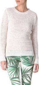 Torn Effect Jumper - neckline: round neck; style: standard; predominant colour: white; occasions: casual, work; length: standard; fibres: linen - 100%; fit: standard fit; sleeve length: long sleeve; sleeve style: standard; texture group: knits/crochet; pattern type: knitted - other
