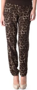 Leopard Trousers - length: standard; style: harem/slouch; waist detail: elasticated waist, fitted waist; pocket detail: large back pockets, pockets at the sides; waist: mid/regular rise; predominant colour: chocolate brown; occasions: casual, evening, work, holiday; fibres: polyester/polyamide - 100%; hip detail: front pleats at hip level; texture group: silky - light; trends: sporty redux, statement prints; fit: tapered; pattern type: fabric; pattern size: small &amp; busy; pattern: animal print, patterned/print