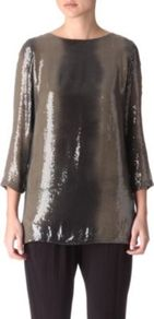 Sequinned Boatneck Top - neckline: round neck; length: below the bottom; predominant colour: khaki; occasions: casual, evening; style: top; fibres: polyester/polyamide - 100%; fit: loose; sleeve length: 3/4 length; sleeve style: standard; trends: metallics, volume; pattern type: fabric; pattern size: standard; texture group: jersey - stretchy/drapey; embellishment: sequins