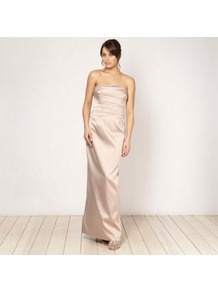 Light Gold Layered Bodice Maxi Dress - style: ballgown; neckline: strapless (straight/sweetheart); pattern: plain; sleeve style: sleeveless; bust detail: ruching/gathering/draping/layers/pintuck pleats at bust; predominant colour: champagne; occasions: evening, occasion; length: floor length; fit: body skimming; fibres: polyester/polyamide - stretch; sleeve length: sleeveless; texture group: structured shiny - satin/tafetta/silk etc.; trends: metallics; pattern type: fabric