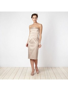 Light Gold Layered Bodice Prom Dress - length: below the knee; neckline: strapless (straight/sweetheart); pattern: plain; style: prom dress; sleeve style: strapless; waist detail: fitted waist, twist front waist detail/nipped in at waist on one side/soft pleats/draping/ruching/gathering waist detail; back detail: low cut/open back; hip detail: fitted at hip, soft pleats at hip/draping at hip/flared at hip; bust detail: ruching/gathering/draping/layers/pintuck pleats at bust, tiers/frills/bulky drapes/pleats; predominant colour: gold; occasions: evening, occasion; fit: fitted at waist &amp; bust; fibres: polyester/polyamide - mix; sleeve length: sleeveless; texture group: structured shiny - satin/tafetta/silk etc.; pattern type: fabric