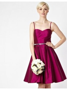 Dark Pink Belted Prom Dress - pattern: plain; style: prom dress; sleeve style: strapless; waist detail: fitted waist; neckline: sweetheart; predominant colour: hot pink; occasions: evening, occasion; length: just above the knee; fit: fitted at waist & bust; fibres: polyester/polyamide - 100%; hip detail: structured pleats at hip, soft pleats at hip/draping at hip/flared at hip; sleeve length: sleeveless; texture group: structured shiny - satin/tafetta/silk etc.; trends: volume; pattern type: fabric