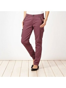 Purple Lightweight Cargo Trousers - length: standard; pattern: plain; pocket detail: pockets at the sides; waist: mid/regular rise; style: cargo; predominant colour: purple; occasions: casual; fibres: cotton - mix; waist detail: narrow waistband; texture group: cotton feel fabrics; fit: slim leg; pattern type: fabric; pattern size: standard