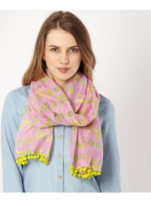 Purple Bug Scarf - predominant colour: lilac; occasions: casual, evening, work, occasion; type of pattern: light; style: regular; size: standard; material: fabric; embellishment: embroidered, pompom; pattern: plain, patterned/print