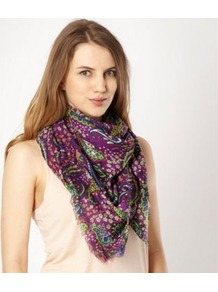 Dark Purple Paisley Square Scarf - predominant colour: purple; occasions: casual, evening, work, occasion; type of pattern: heavy; style: square; size: standard; material: fabric; embellishment: fringing; pattern: paisley, patterned/print