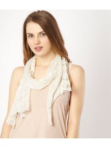 Ivory Lace Trim Scarf - predominant colour: ivory; occasions: casual, work; type of pattern: light; style: regular; material: lace; size: small; pattern: patterned/print
