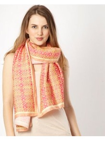 Pink Geo Scarf - predominant colour: pink; occasions: casual, evening, work, occasion; type of pattern: standard; style: regular; size: large; trends: statement prints; material: satin; pattern: patterned/print
