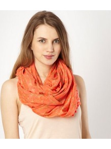 Peach Animal Pom Pom Snood - predominant colour: coral; occasions: casual, evening, work; type of pattern: light; style: snood; size: standard; material: fabric; embellishment: pompom; pattern: animal print, plain