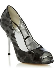 Grey Neha Leopard Patent High Heel Court Shoes - predominant colour: charcoal; occasions: evening, work, occasion; material: faux leather; heel height: high; heel: stiletto; toe: open toe/peeptoe; style: courts; trends: statement prints; finish: patent; pattern: animal print