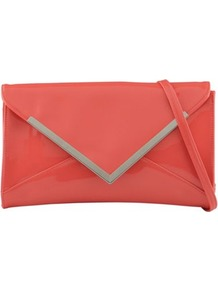 Coral Berec Patent Clutch Bag - predominant colour: coral; occasions: casual, evening, occasion, holiday; type of pattern: light; style: clutch; length: hand carry; size: standard; material: faux leather; pattern: plain; trends: fluorescent; finish: plain; embellishment: chain/metal