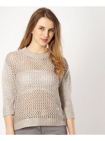 Taupe Sequin Jumper - pattern: plain; style: standard; predominant colour: stone; occasions: casual, evening; length: standard; fibres: acrylic - mix; fit: standard fit; neckline: crew; bust detail: contrast pattern/fabric/detail at bust; back detail: longer hem at back than at front; sleeve length: 3/4 length; sleeve style: standard; texture group: knits/crochet; pattern type: knitted - big stitch