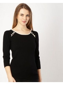 Black Button Shoulder Jumper - neckline: round neck; pattern: plain; style: standard; shoulder detail: contrast pattern/fabric at shoulder, added shoulder detail; predominant colour: black; occasions: casual, work; length: standard; fibres: linen - mix; fit: standard fit; sleeve length: 3/4 length; sleeve style: standard; texture group: knits/crochet; pattern type: knitted - fine stitch; pattern size: small & light