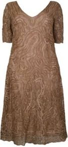Gold Lace And Tape Dress - style: shift; length: below the knee; neckline: v-neck; predominant colour: gold; occasions: evening, occasion; fit: soft a-line; fibres: nylon - 100%; hip detail: soft pleats at hip/draping at hip/flared at hip; sleeve length: short sleeve; sleeve style: standard; texture group: lace; pattern type: fabric; pattern size: standard; embellishment: embroidered