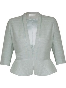 Petite Pale Green Summer Tweed Jacket - pattern: plain, herringbone/tweed; style: cropped; collar: shawl/waterfall; length: cropped; predominant colour: pistachio; occasions: evening, work, occasion; fit: tailored/fitted; fibres: cotton - mix; waist detail: fitted waist, peplum detail at waist; sleeve length: half sleeve; sleeve style: standard; collar break: medium; pattern type: fabric; pattern size: standard; texture group: tweed - light/midweight