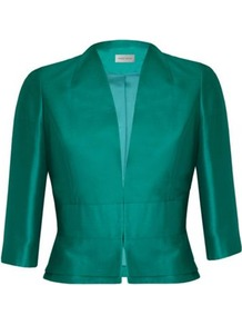 Petite Green Silk Wool Jacket - pattern: plain; style: cropped; collar: shawl/waterfall; length: cropped; predominant colour: emerald green; occasions: evening, occasion; fit: tailored/fitted; fibres: wool - mix; sleeve length: 3/4 length; sleeve style: standard; texture group: structured shiny - satin/tafetta/silk etc.; collar break: medium; pattern type: fabric; pattern size: standard