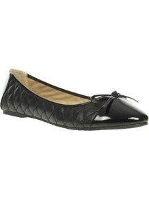 Black Quilted Ballerinas With Patent Toe Cap - predominant colour: black; occasions: casual, evening, work; material: faux leather; heel height: flat; embellishment: quilted; toe: round toe; style: ballerinas / pumps; finish: plain; pattern: plain