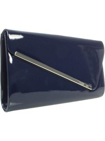 Navy Patent Clutch Bag With Metal Trim - predominant colour: navy; occasions: casual, evening, occasion; type of pattern: light; style: clutch; length: hand carry; size: standard; material: faux leather; pattern: plain; finish: patent; embellishment: chain/metal