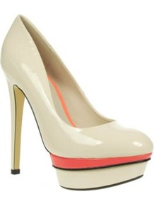 Nude Patent Platform Court Shoes Colour Insert - predominant colour: ivory; occasions: evening, work, occasion; material: faux leather; heel height: high; heel: platform; toe: round toe; style: courts; trends: fluorescent; finish: patent; pattern: plain, colourblock