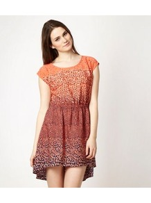 Designer Peach Petal Printed Day Dress - length: mid thigh; neckline: round neck; sleeve style: capped; fit: fitted at waist; style: sundress; waist detail: elasticated waist, fitted waist, twist front waist detail/nipped in at waist on one side/soft pleats/draping/ruching/gathering waist detail; predominant colour: bright orange; occasions: casual, holiday; fibres: cotton - 100%; hip detail: soft pleats at hip/draping at hip/flared at hip; back detail: longer hem at back than at front; sleeve length: short sleeve; texture group: cotton feel fabrics; pattern type: fabric; pattern size: small & busy; pattern: florals, patterned/print