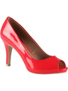 Red Luella Patent Peep Toe Court Shoes - predominant colour: true red; occasions: evening, work, occasion; material: faux leather; heel height: mid; heel: platform; toe: open toe/peeptoe; style: courts; finish: patent; pattern: plain