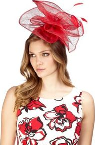 Swooped Sinamay Fascinator - predominant colour: true red; occasions: evening, occasion; type of pattern: light; style: fascinator; size: large; material: sinamay; embellishment: feather; pattern: plain, pinstripe