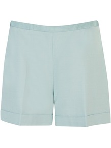Ted Baker Jaynesh Tuxedo Tailored Shorts - pattern: plain; style: shorts; waist: high rise; length: short shorts; predominant colour: turquoise; occasions: evening, occasion; fibres: wool - mix; hip detail: fitted at hip (bottoms); jeans &amp; bottoms detail: turn ups; texture group: crepes; fit: straight leg; pattern type: fabric; pattern size: standard