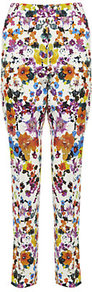 Frisia Floral Print Trousers - waist: mid/regular rise; occasions: casual, evening, occasion; length: ankle length; fibres: cotton - stretch; predominant colour: multicoloured; trends: high impact florals; fit: slim leg; pattern type: fabric; pattern size: big &amp; busy; pattern: florals; texture group: woven light midweight; style: standard