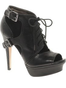 Jagger Leather Shoe Boot - predominant colour: black; occasions: casual, evening, work; material: leather; heel height: high; embellishment: buckles; heel: platform; toe: open toe/peeptoe; boot length: shoe boot; style: standard; finish: plain; pattern: plain