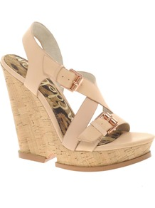 Josie Leather Wedge Sandal - predominant colour: camel; occasions: evening, holiday; material: leather; heel height: high; embellishment: buckles; ankle detail: ankle strap; heel: wedge; toe: open toe/peeptoe; style: strappy; finish: plain; pattern: plain