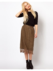 Button Through Crochet Skirt - length: calf length; pattern: plain; style: straight; fit: loose/voluminous; waist: mid/regular rise; predominant colour: khaki; occasions: casual, work; fibres: cotton - mix; texture group: lace; pattern type: fabric; pattern size: standard