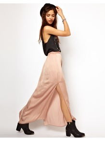 Washed Satin Maxi Skirt - pattern: plain; fit: body skimming; waist detail: elasticated waist; waist: mid/regular rise; predominant colour: nude; occasions: casual, evening; length: floor length; style: maxi skirt; fibres: polyester/polyamide - 100%; hip detail: slits at hip; texture group: silky - light; pattern type: fabric