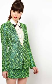 Jacket In Metallic Neon Tweed - style: single breasted blazer; collar: standard lapel/rever collar; pattern: herringbone/tweed, patterned/print; predominant colour: emerald green; occasions: casual, evening, work, occasion; length: standard; fit: tailored/fitted; fibres: acrylic - mix; sleeve length: long sleeve; sleeve style: standard; trends: tuxedo, modern geometrics; collar break: low/open; pattern type: fabric; pattern size: big &amp; busy; texture group: brocade/jacquard