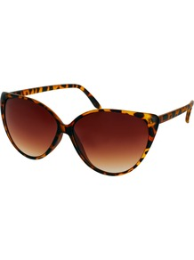 Claudia Cat Eye Sunglasses - predominant colour: chocolate brown; occasions: casual, holiday; style: cateye; size: large; material: plastic/rubber; pattern: tortoiseshell; finish: plain