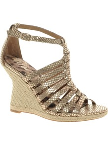 Annabel Wedge Leather Sandal - predominant colour: gold; occasions: evening, holiday; material: leather; heel height: high; ankle detail: ankle strap; heel: wedge; toe: open toe/peeptoe; style: strappy; trends: metallics; finish: metallic; pattern: plain