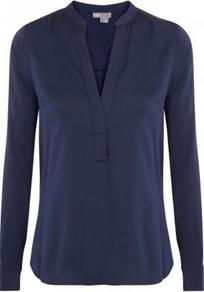 1/2 Placket Blouse In Navy - pattern: plain; style: blouse; predominant colour: navy; occasions: casual; length: standard; neckline: mandarin with v-neck; fibres: silk - mix; fit: straight cut; sleeve length: long sleeve; sleeve style: standard; texture group: silky - light; pattern type: fabric; pattern size: standard