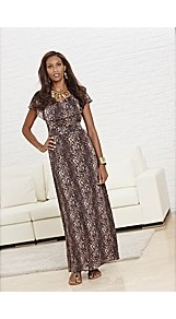Joanna Hope Animal Print Gypsy Dress - neckline: round neck; style: maxi dress; waist detail: elasticated waist, fitted waist, narrow waistband; sleeve style: volant; predominant colour: chocolate brown; occasions: evening, occasion, holiday; length: floor length; fit: fitted at waist &amp; bust; fibres: polyester/polyamide - 100%; hip detail: soft pleats at hip/draping at hip/flared at hip; sleeve length: short sleeve; texture group: sheer fabrics/chiffon/organza etc.; trends: statement prints; bust detail: tiers/frills/bulky drapes/pleats; pattern type: fabric; pattern size: small &amp; busy; pattern: animal print